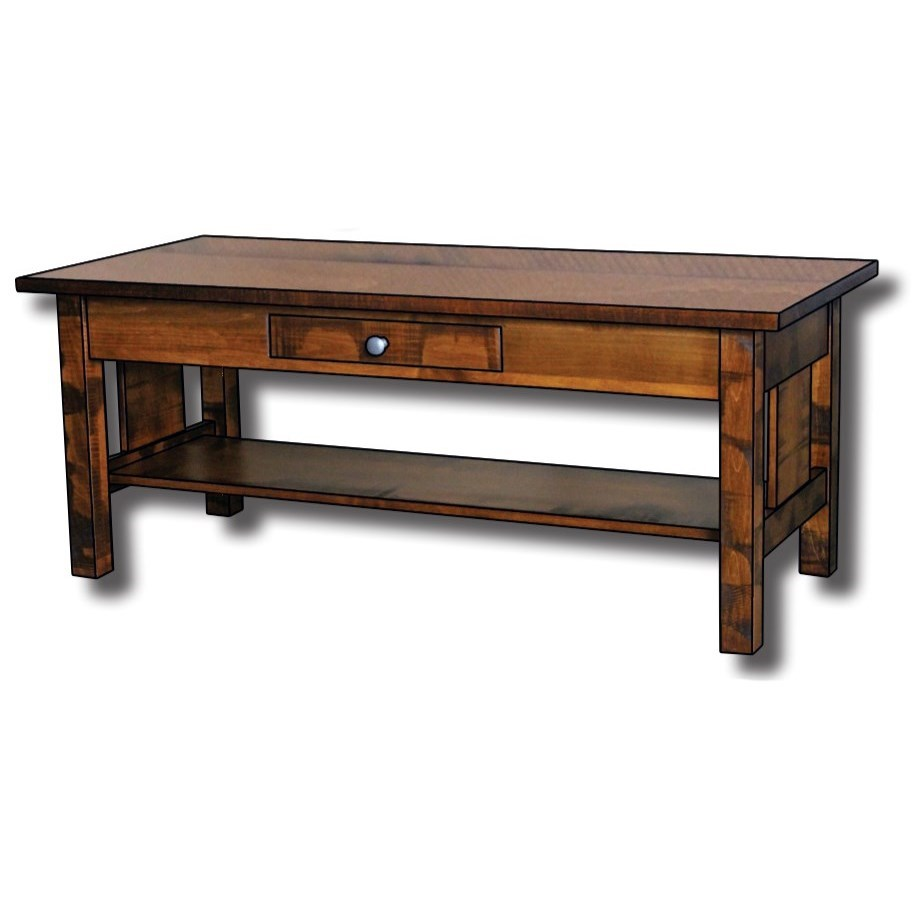 Weldon Style Customizable Solid Wood Coffee Table by Ashery Woodworking at Saugerties Furniture Mart