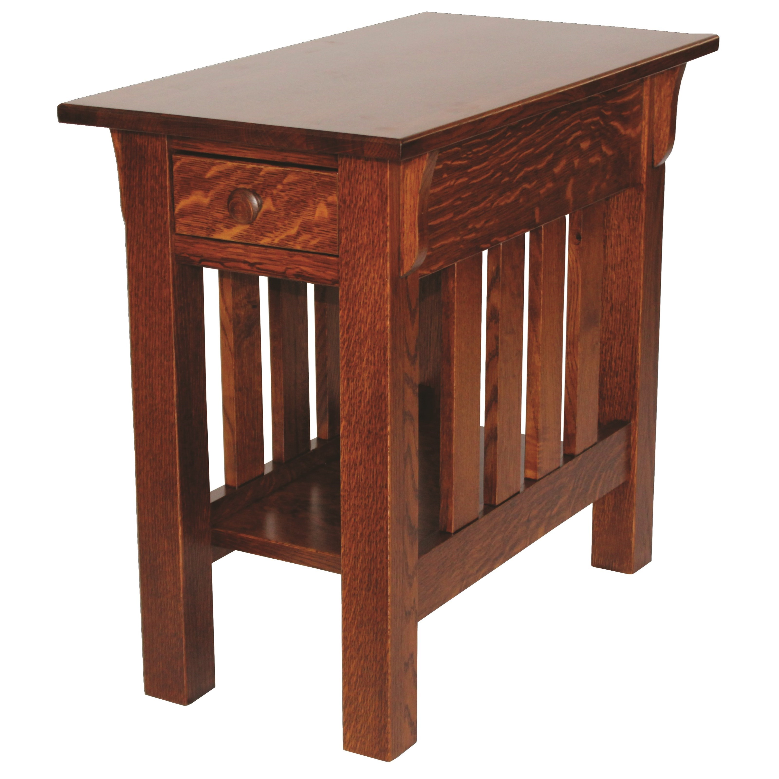 Wide Slat Mission End Table by Ashery Woodworking at Saugerties Furniture Mart