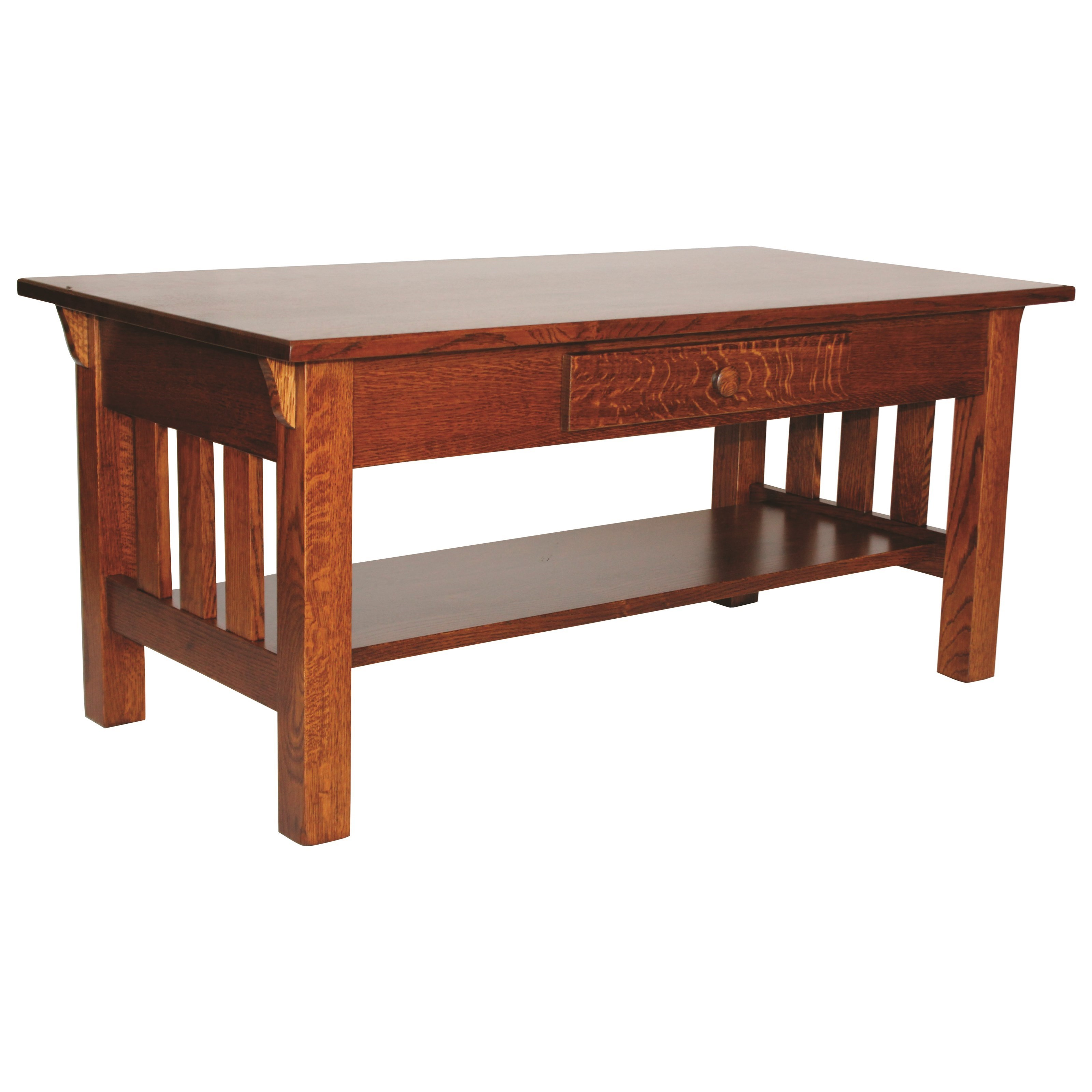 Wide Slat Mission Coffee Table by Ashery Woodworking at Saugerties Furniture Mart