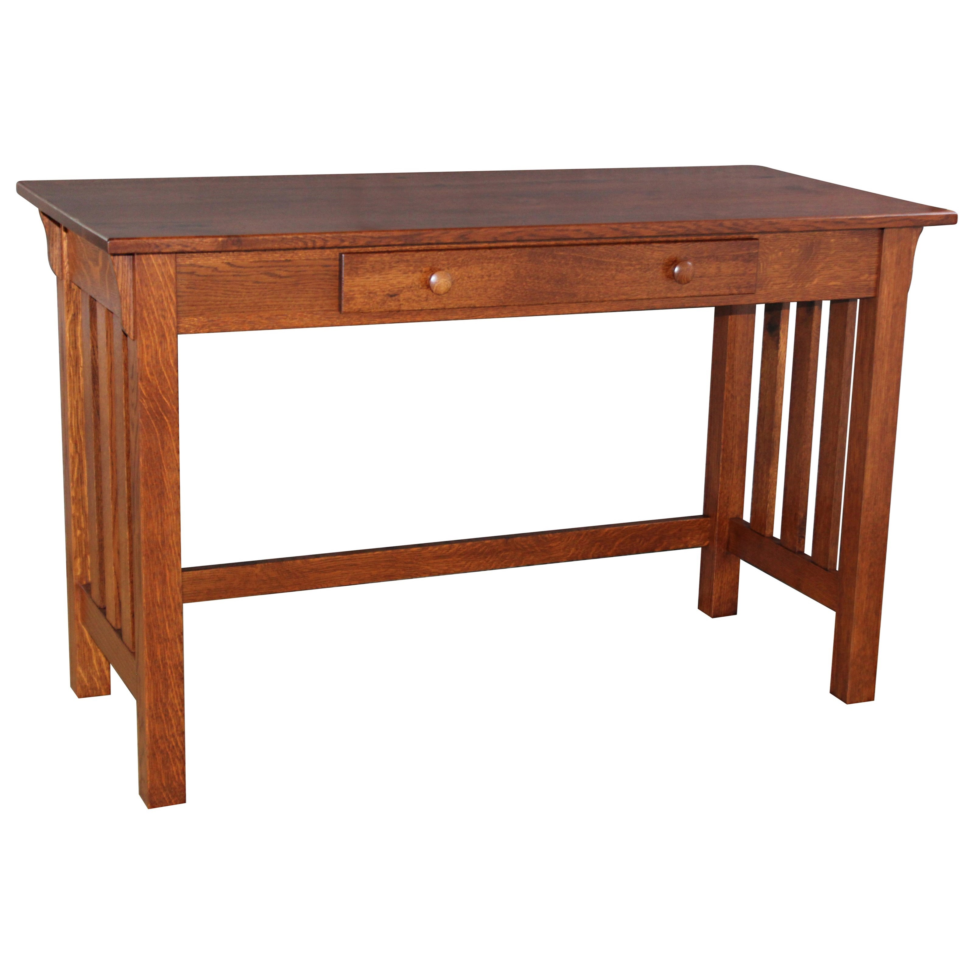 Wide Slat Mission Library Table by Ashery Woodworking at Saugerties Furniture Mart