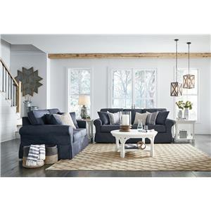 Denim Sofa and Loveseat Set