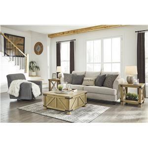 Beige Sofa and Swivel Chair Set