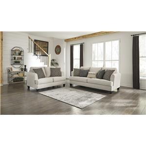 Beige Sofa and Loveseat Set