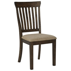 Casual Upholstered Side Chair with Slat Back