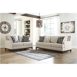 Linen Sofa and Loveseat Set