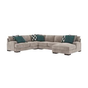 4 Piece Silver Chaise Sectional