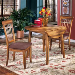 3-Piece Drop Leaf Table & 2 Upholstered Side Chairs