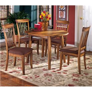 5-Piece Drop Leaf Table & Upholstered Side Chair Set