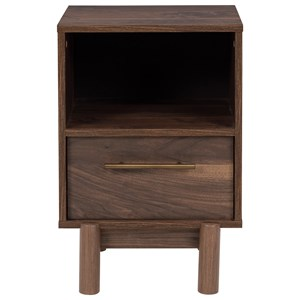 Contemporary 1-Drawer Nightstand with Open Storage