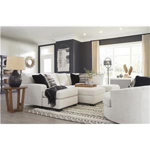 2 Piece Chaise Sectional and Accent Swivel Chair Set