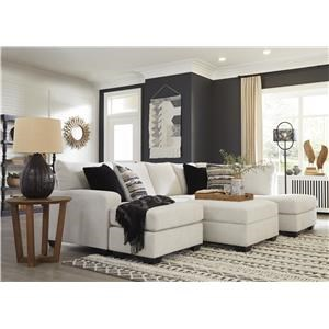2 Piece Chaise Sectional and Storage Ottoman Set