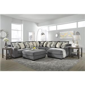 4 Piece Grey Sectional with Ottoman
