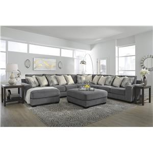 5 Piece Grey Sectional with Ottoman