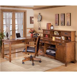 Ashley Furniture Cross Island L-Shape Desk with Credenza and Low Hutch