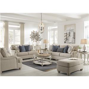 Bisque Sofa, Chair and Ottoman Set