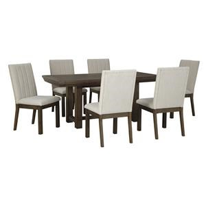 7 Piece Dining Room Extension Table and 6 Upholstered Side Chairs Set