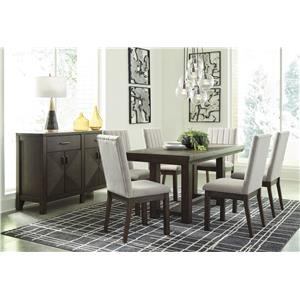 8 PC Table, 6 UPH Side Chairs and Server Set