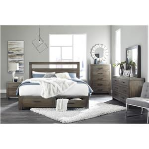 King Platform Bed with Storage Footboard, Dresser, Mirror and Nightstand Package