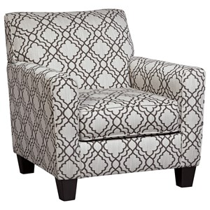 Accent Chair with Quatrefoil Lattice Fabric