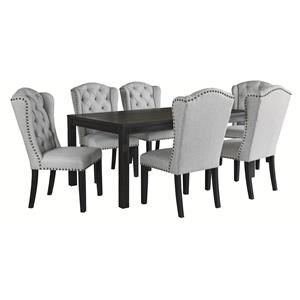 7 PC RECT Table and 6 UPH Side Chairs Set