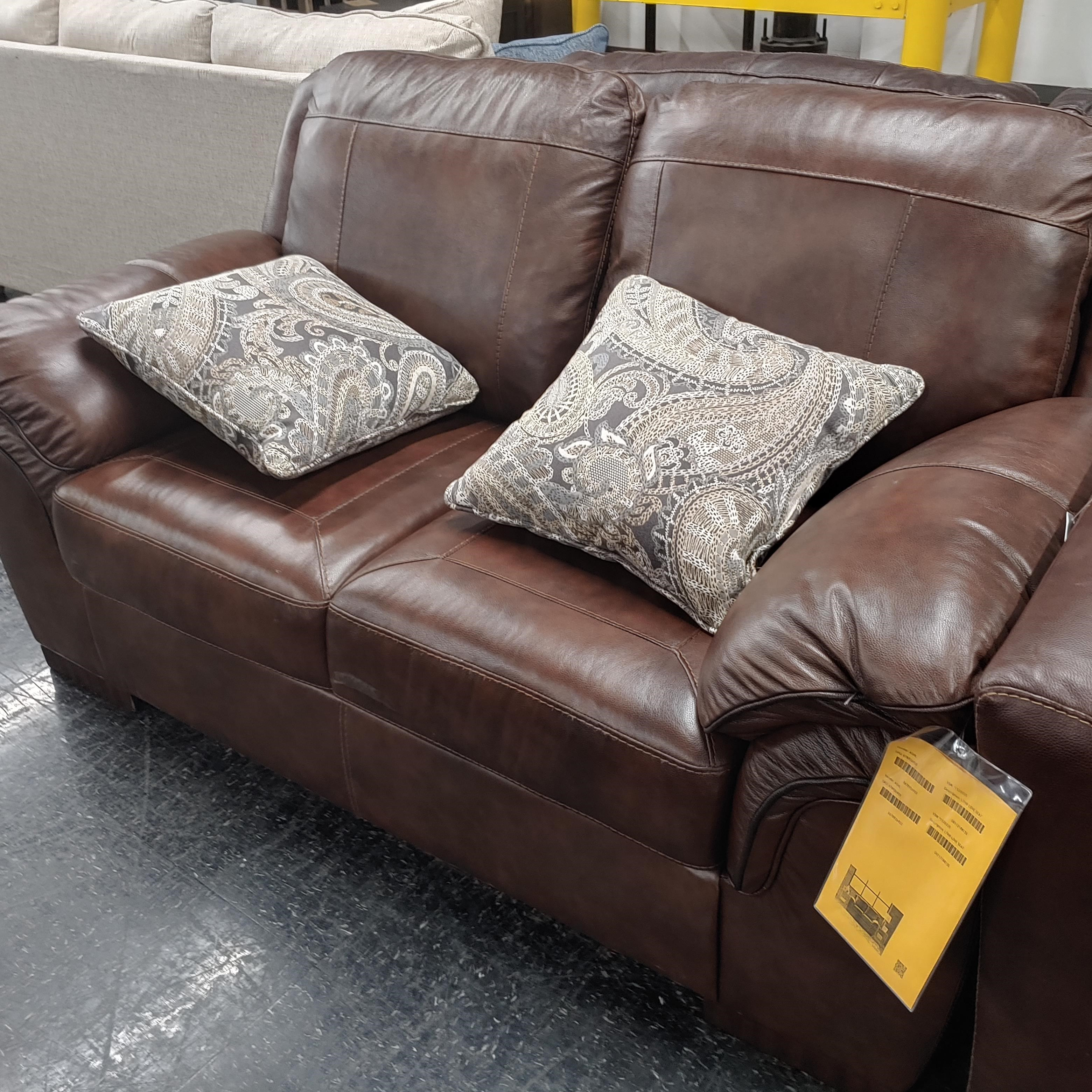 Last One Loveseat Last One! Leather Loveseat! at Morris Home