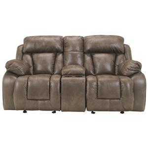 Ashley Furniture Loral - Sable Glider Reclining Loveseat w/ Console