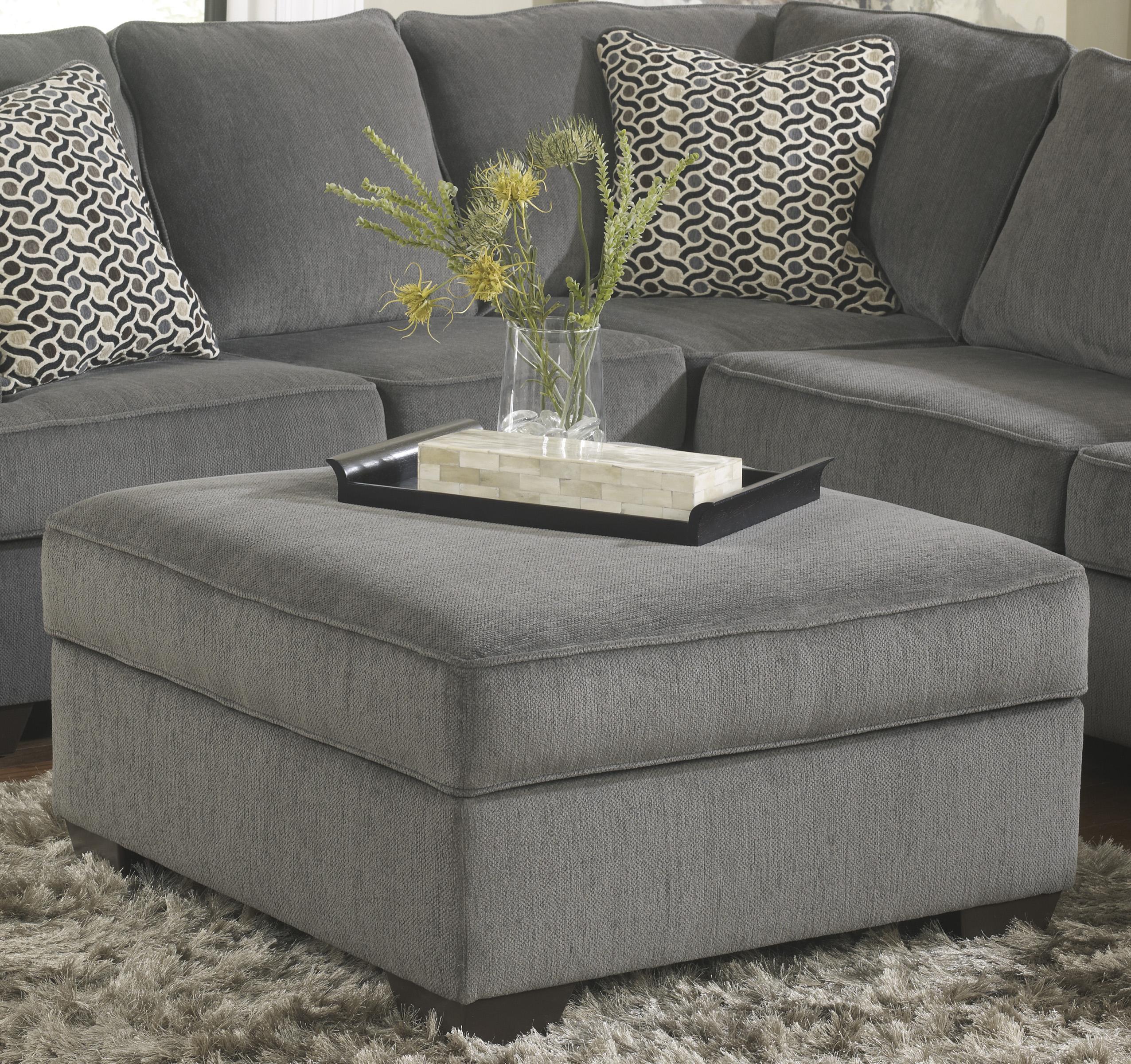 Loric - Smoke Ottoman With Storage by Ashley Furniture at Lapeer Furniture & Mattress Center
