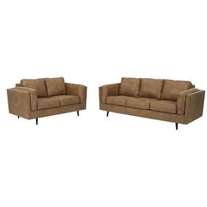 Faux Leather Caramel Sofa and Loveseat Set