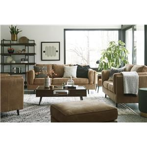 Faux Leather Caramel Sofa, Loveseat, Chair and Ottoman Set