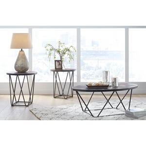 Contemporary Round Occasional Table Group with Metal Legs