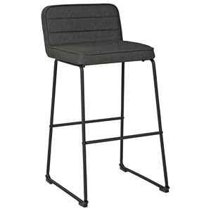 Contemporary Gray Tall Bar Stool with Upholstered Seat and Back
