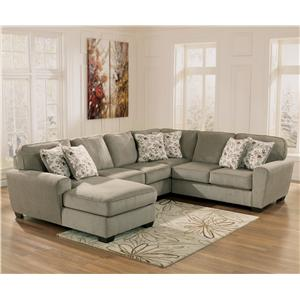 Ashley Furniture Patola Park - Patina 4-Piece Small Sectional with Left Chaise