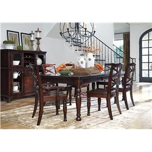 7 Piece Rectangular Dining Room Extension Table, 2 Arm Chairs and 4 Side Chairs Set