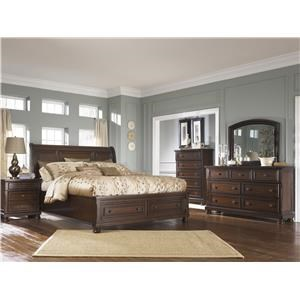 Queen Sleigh Bed with Storage, Dresser, Mirror, 2 Nightstands and Chest Package