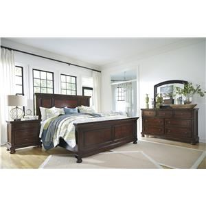 King Panel Bed, Dresser, Mirror and Nightstand Package