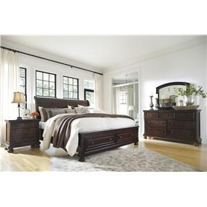 Queen Sleigh Bed with Storage, Dresser and Mirror Package