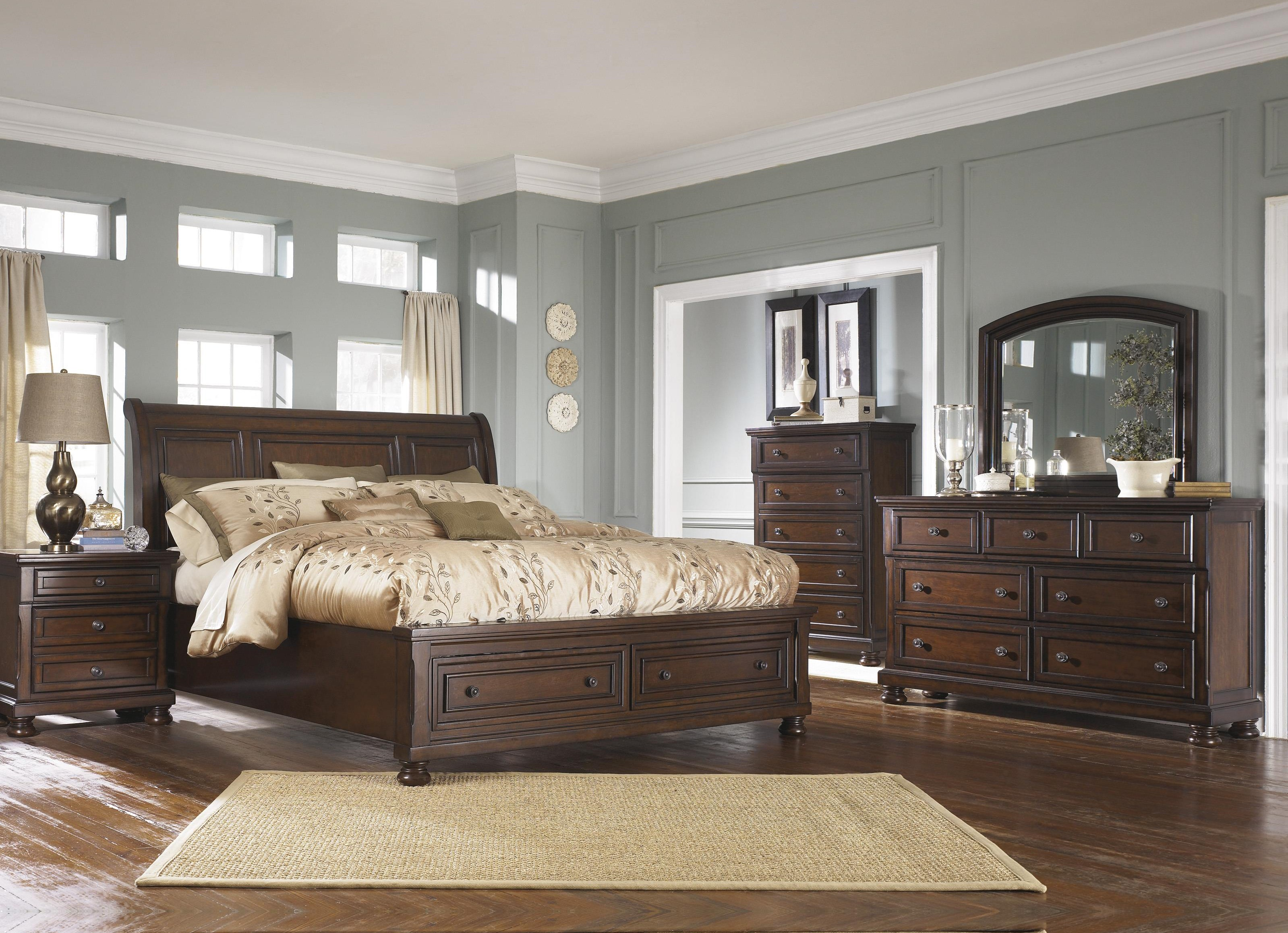Porter Queen Sleigh Bed with Storage Package by Ashley Furniture at Sam Levitz Furniture