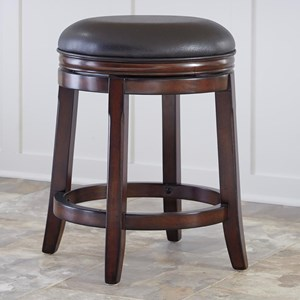 Counter Height Backless Upholstered Swivel Stool
