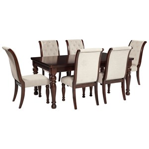 7 Piece Rectangular Extension Table & Upholstered Side Chair Set