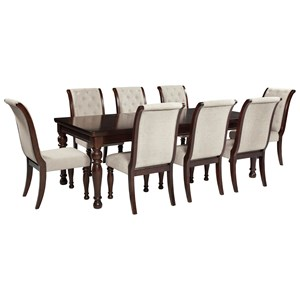 9 Piece Rectangular Extension Table & Upholstered Side Chair Set