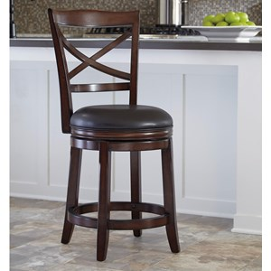 Counter Height X-Back Upholstered Swivel Barstool