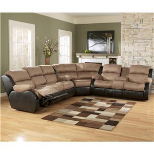 Ashley Furniture Presley - Cocoa Sectional Sofa with Full Sleeper