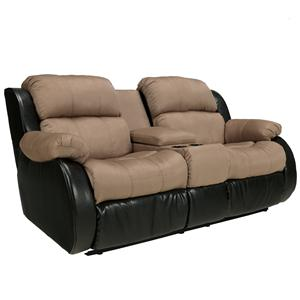 Ashley Furniture Presley - Cocoa Double Reclining Loveseat w/ Console