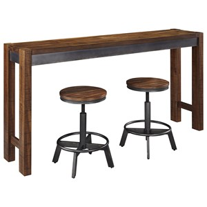 3 Piece Rustic Long Counter Table Set