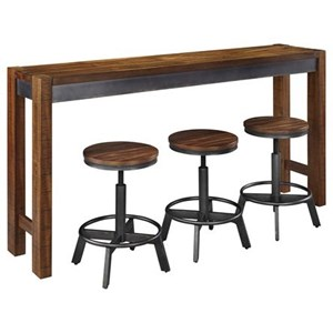 4 Piece Rustic Long Counter Table Set