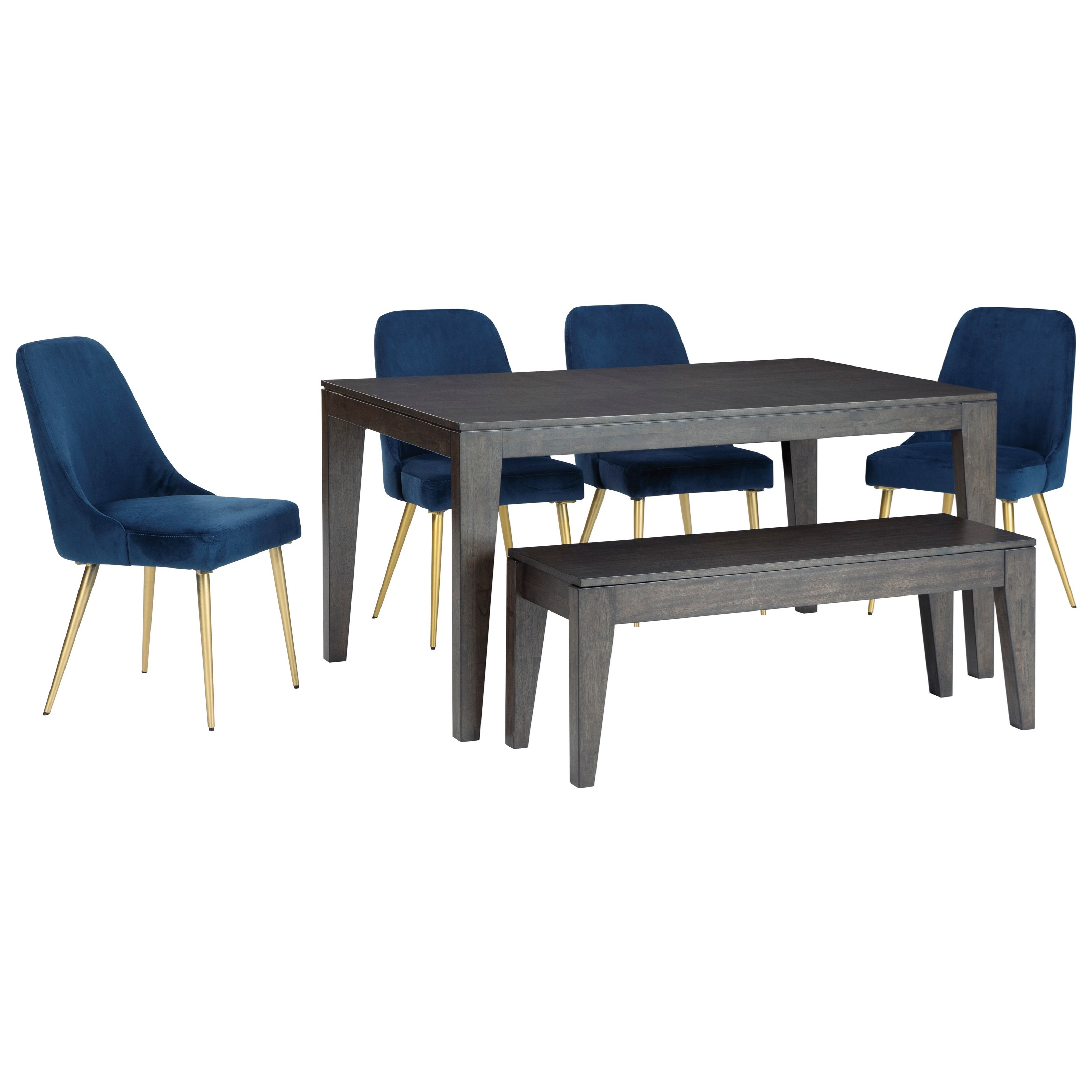 Trishcott 6-Piece Table and Chair Set with Bench at Walker's Furniture