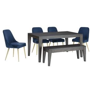 6 Piece Rectangular Dining Room Table, 4 Upholstered Side Chairs and Bench Set