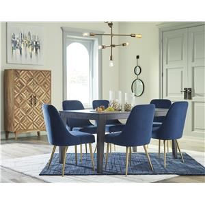 7 Piece Rectangular Dining Room Table and 6 Upholstered Side Chairs Set