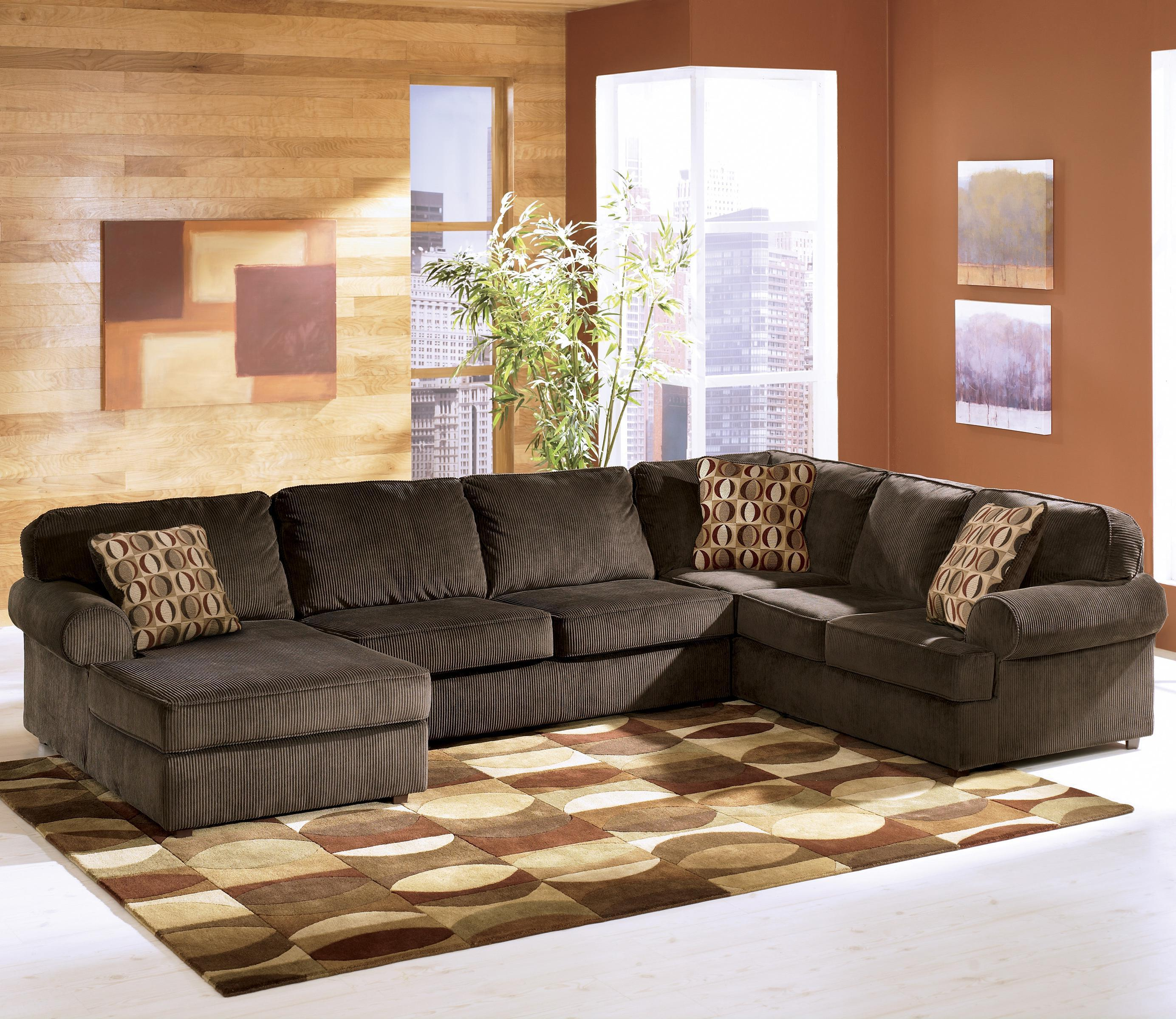 Vista - Chocolate 3-Piece Sectional with Left Chaise by Ashley Furniture at Lapeer Furniture & Mattress Center