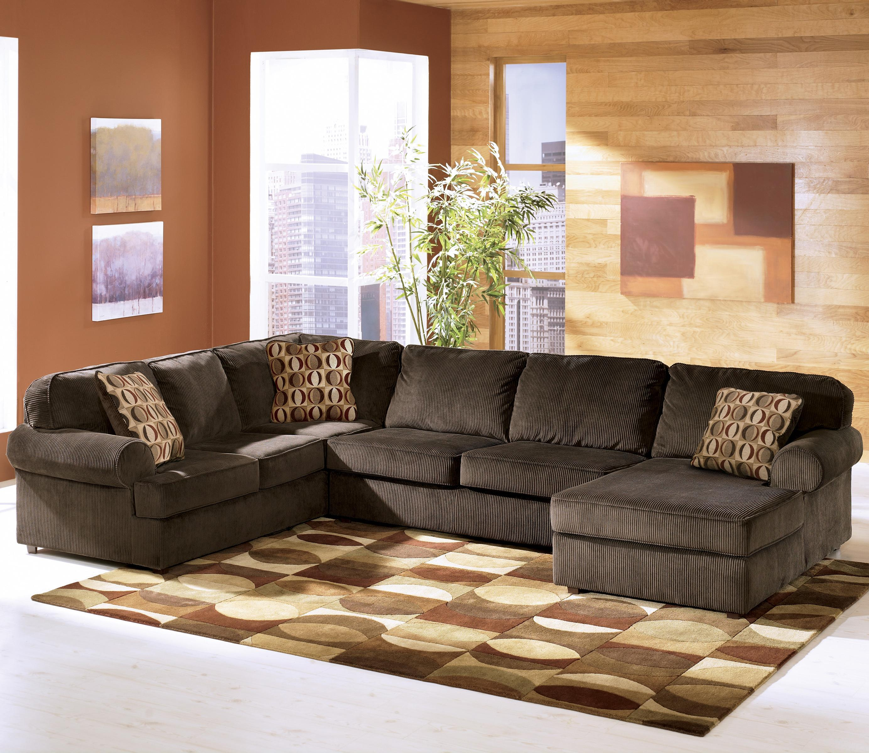 Vista - Chocolate 3-Piece Sectional with Right Chaise by Ashley Furniture at Lapeer Furniture & Mattress Center